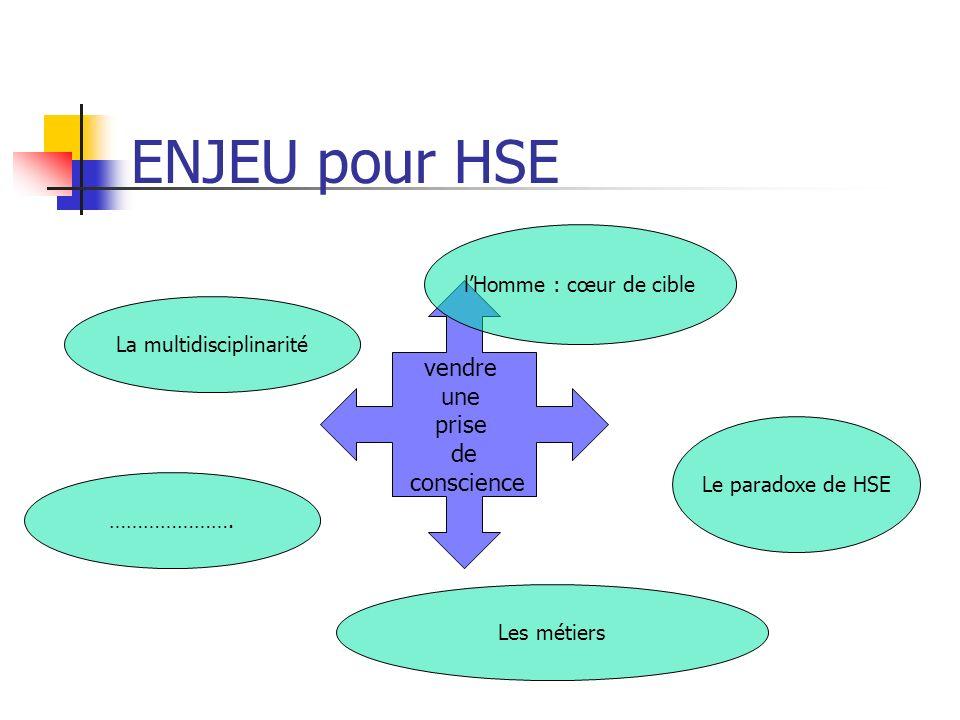 ENJEU pour HSE vendre une prise de conscience La multidisciplinarité Les métiers lHomme : cœur de cible Le paradoxe de HSE ………………….