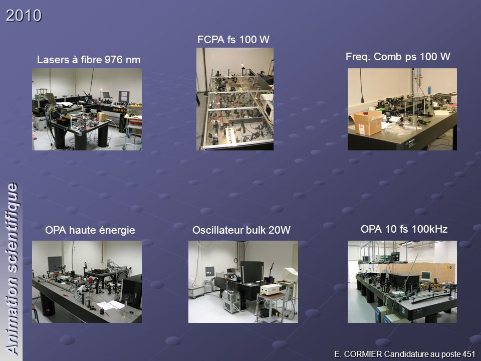 E. CORMIER Candidature au poste 451 Animation scientifique 2010 Lasers à fibre 976 nm FCPA fs 100 W Freq. Comb ps 100 W OPA haute énergieOscillateur b