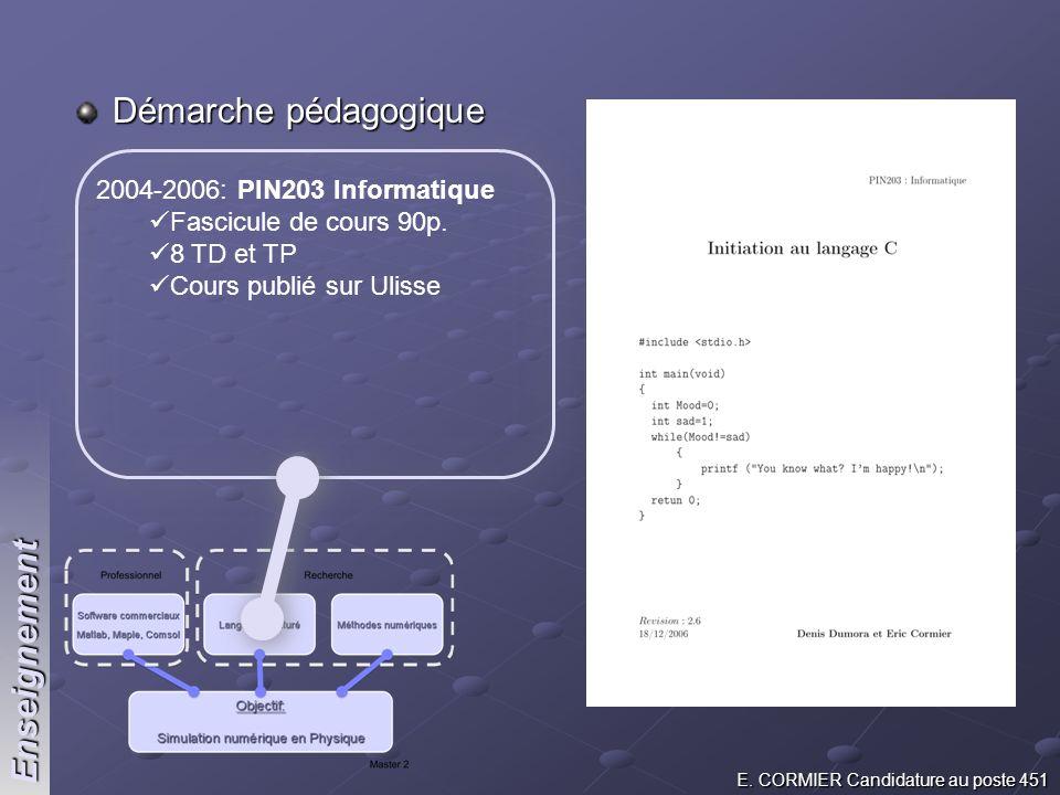 E. CORMIER Candidature au poste 451 Démarche pédagogique 2004-2006: PIN203 Informatique Fascicule de cours 90p. 8 TD et TP Cours publié sur Ulisse Ens