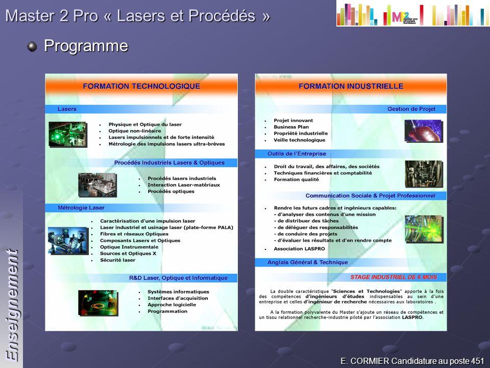 E. CORMIER Candidature au poste 451 Programme Enseignement Master 2 Pro « Lasers et Procédés »