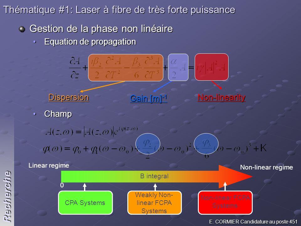 E. CORMIER Candidature au poste 451 Recherche Thématique #1: Laser à fibre de très forte puissance Gestion de la phase non linéaire Equation de propag