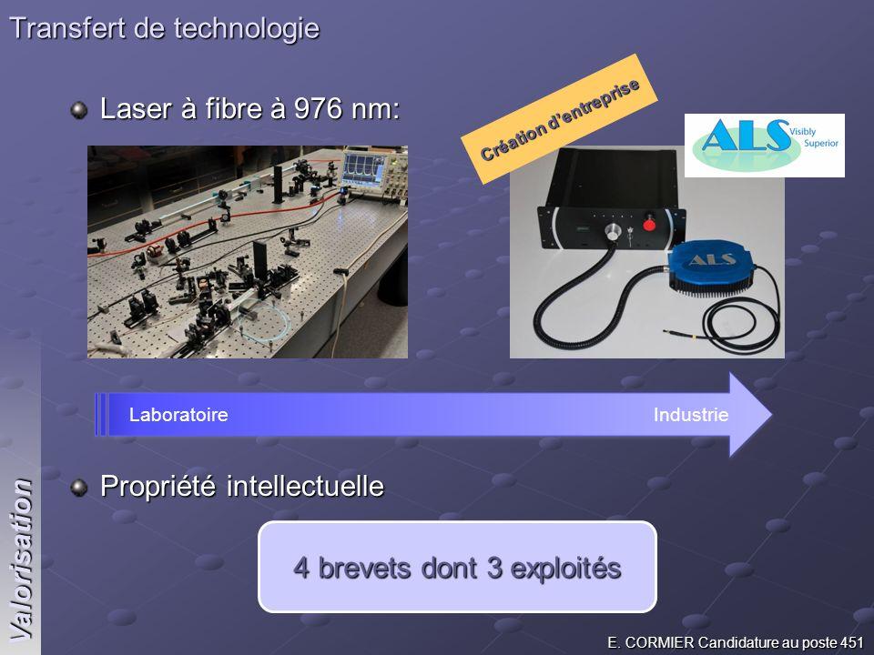 E. CORMIER Candidature au poste 451 Valorisation Laser à fibre à 976 nm: Propriété intellectuelle Transfert de technologie 4 brevets dont 3 exploités