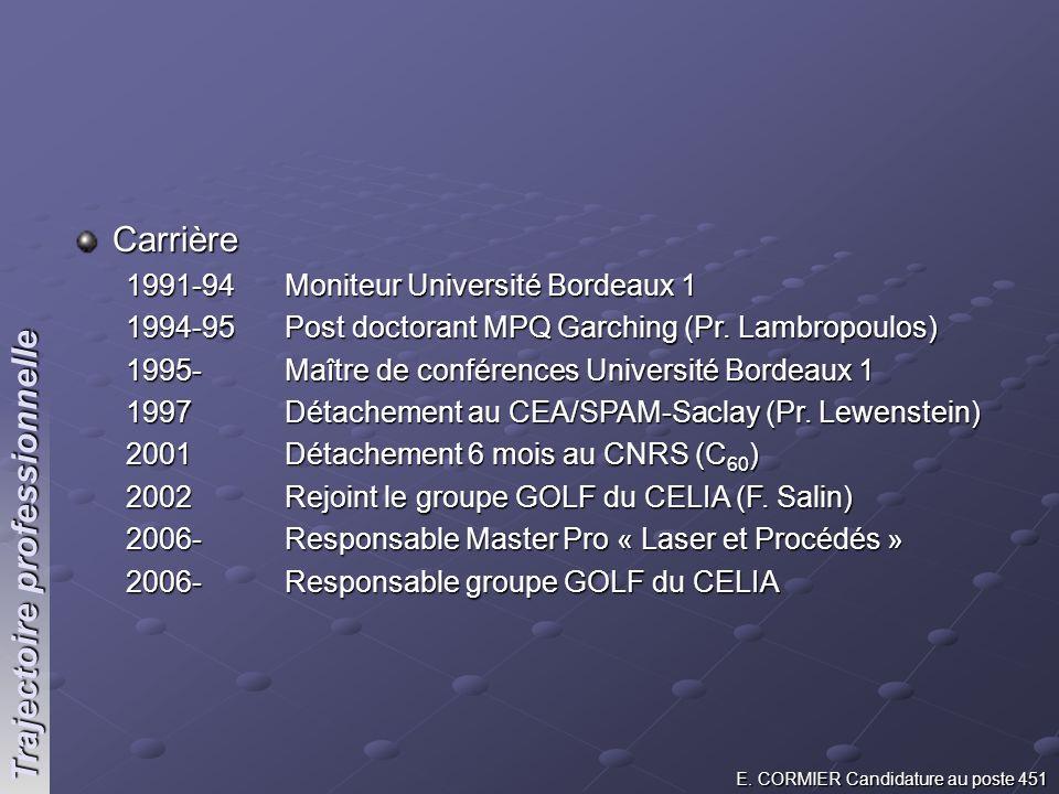 Carrière 1991-94 Moniteur Université Bordeaux 1 1994-95 Post doctorant MPQ Garching (Pr. Lambropoulos) 1995- Maître de conférences Université Bordeaux
