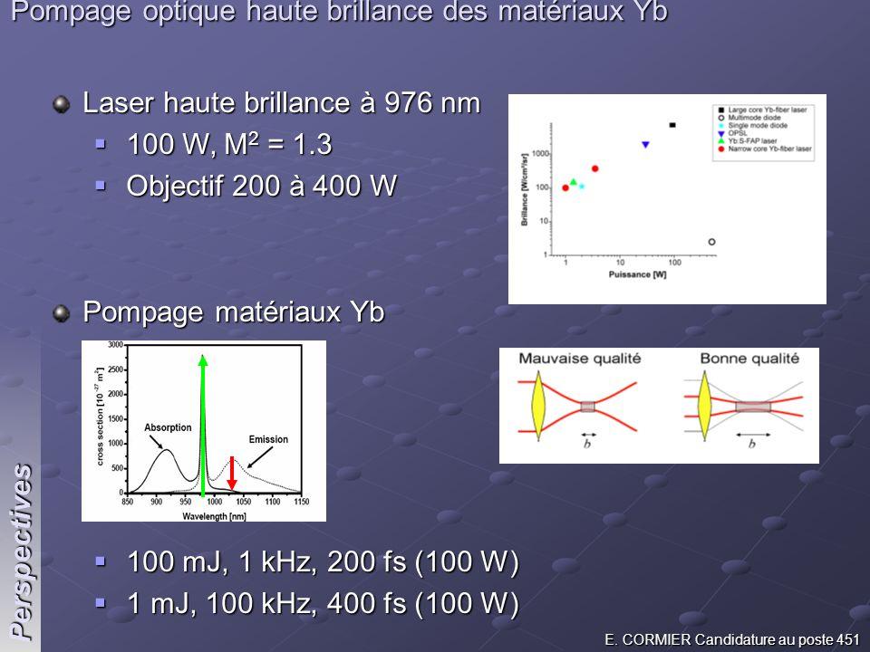 E. CORMIER Candidature au poste 451 Perspectives Pompage optique haute brillance des matériaux Yb Laser haute brillance à 976 nm 100 W, M 2 = 1.3 100