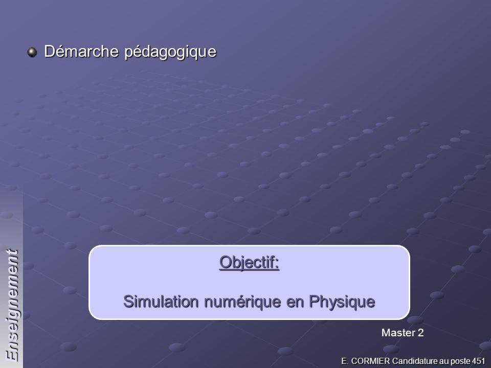 Démarche pédagogique Objectif: Simulation numérique en Physique Master 2 Enseignement