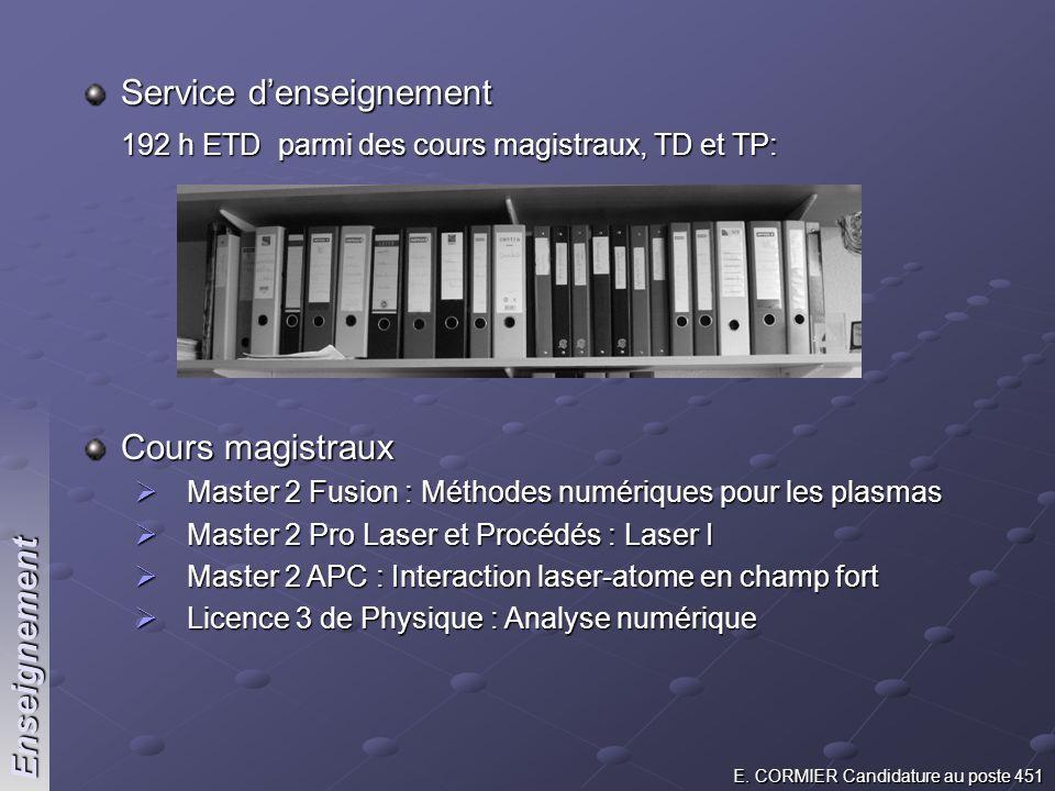 E. CORMIER Candidature au poste 451 Service denseignement 192 h ETD parmi des cours magistraux, TD et TP: Cours magistraux Master 2 Fusion : Méthodes