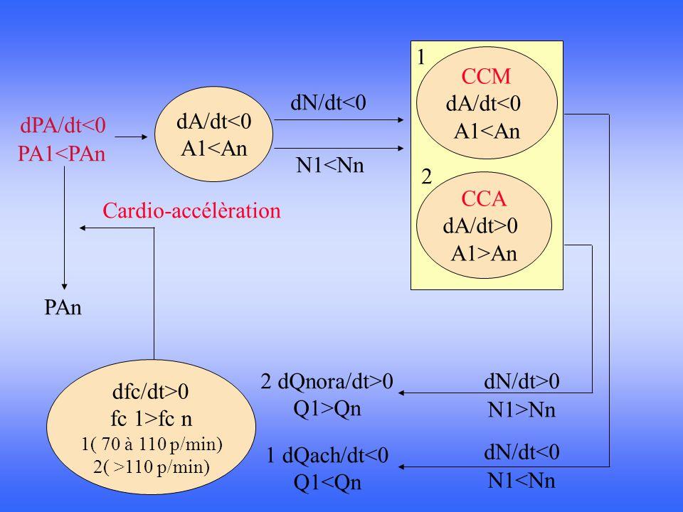 dfc/dt>0 fc 1>fc n 1( 70 à 110 p/min) 2( >110 p/min) dA/dt<0 A1<An CCM dA/dt<0 A1<An CCA dA/dt>0 A1>An dPA/dt<0 PA1<PAn dN/dt<0 N1<Nn dN/dt<0 N1<Nn dN