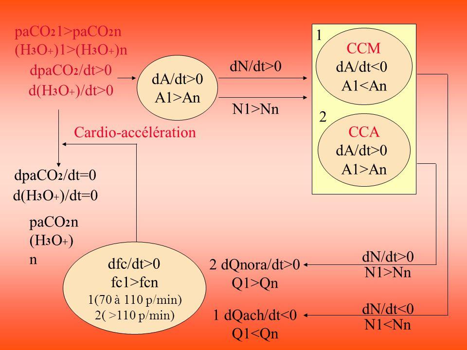 dfc/dt>0 fc1>fcn 1(70 à 110 p/min) 2( >110 p/min) dA/dt>0 A1>An CCM dA/dt<0 A1<An CCA dA/dt>0 A1>An dN/dt>0 N1>Nn dN/dt<0 N1<Nn dN/dt>0 1 dQach/dt<0 Q