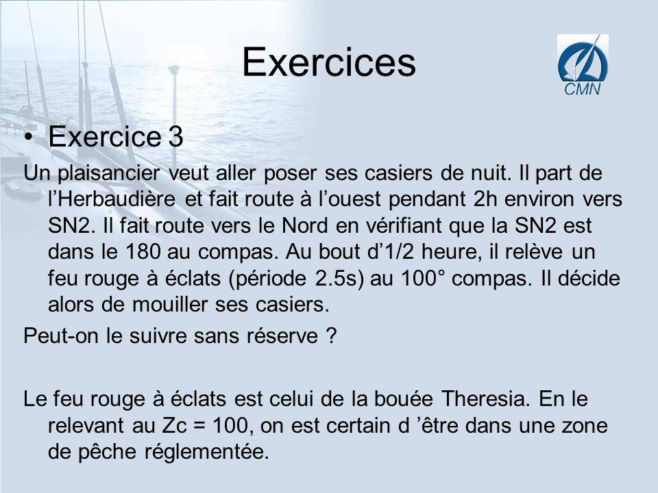 Exercices Exercice 3 Un plaisancier veut aller poser ses casiers de nuit. Il part de lHerbaudière et fait route à louest pendant 2h environ vers SN2.