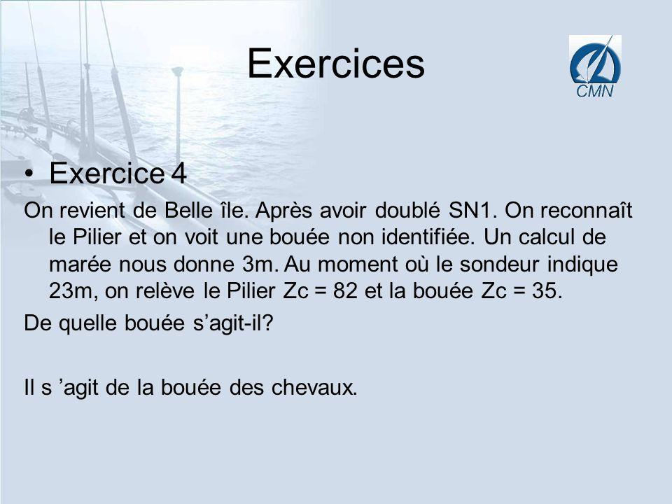 Exercices Exercice 4 On revient de Belle île. Après avoir doublé SN1. On reconnaît le Pilier et on voit une bouée non identifiée. Un calcul de marée n