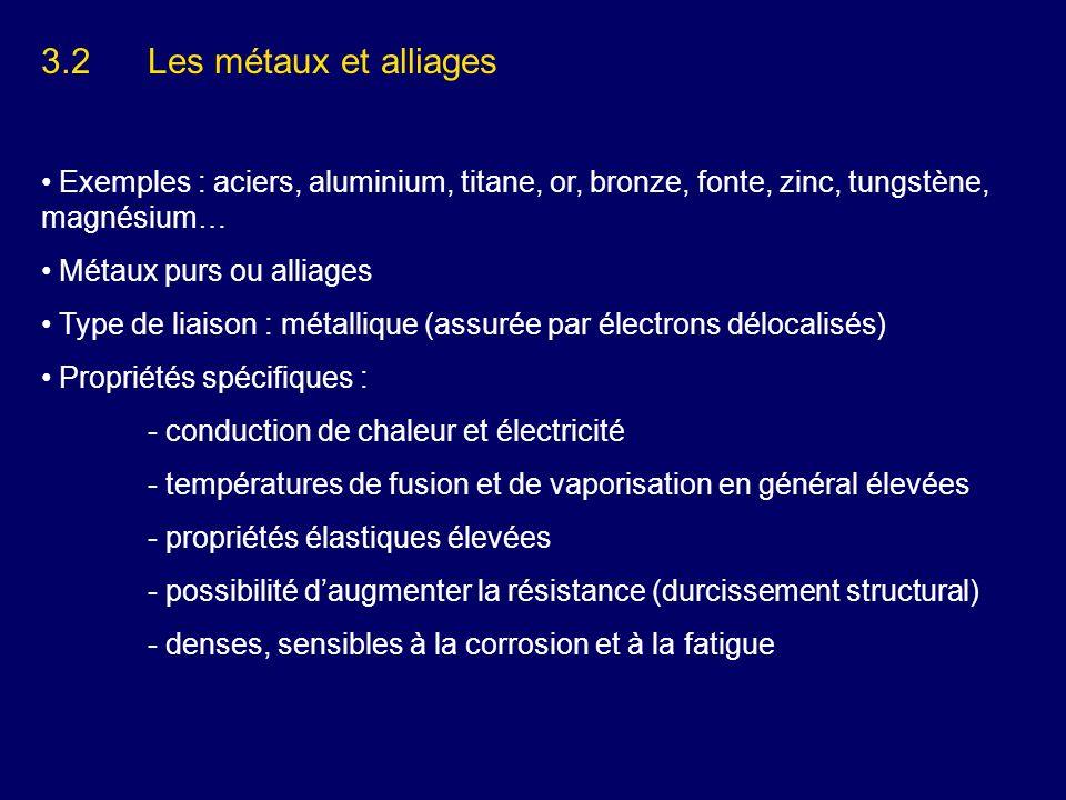3.2Les métaux et alliages Exemples : aciers, aluminium, titane, or, bronze, fonte, zinc, tungstène, magnésium… Métaux purs ou alliages Type de liaison