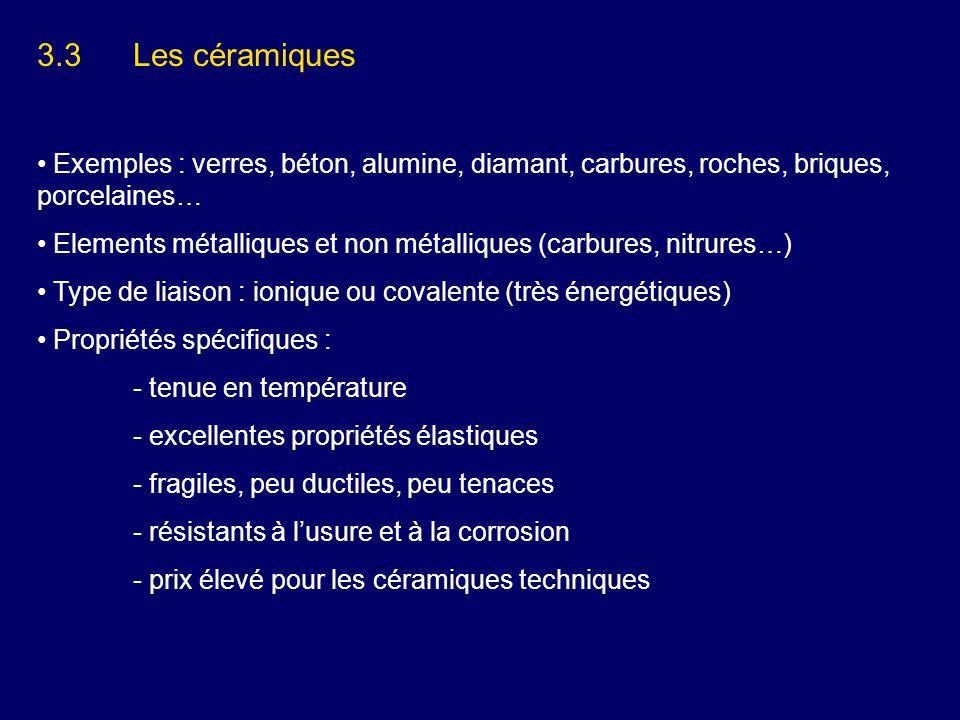 3.3Les céramiques Exemples : verres, béton, alumine, diamant, carbures, roches, briques, porcelaines… Elements métalliques et non métalliques (carbure