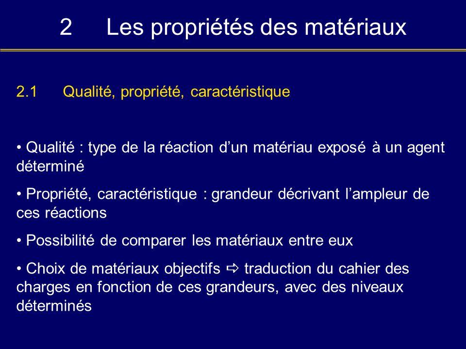 2Les propriétés des matériaux 2.1Qualité, propriété, caractéristique Qualité : type de la réaction dun matériau exposé à un agent déterminé Propriété,