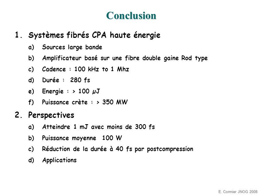 E. Cormier JNOG 2008 1.Systèmes fibrés CPA haute énergie a)Sources large bande b)Amplificateur basé sur une fibre double gaine Rod type c)Cadence : 10