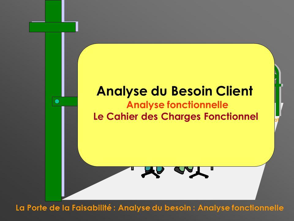 La Porte de la Faisabilité : Analyse du besoin : Analyse fonctionnelle La Porte du Contrat Analyse du Besoin Client Analyse fonctionnelle Le Cahier de