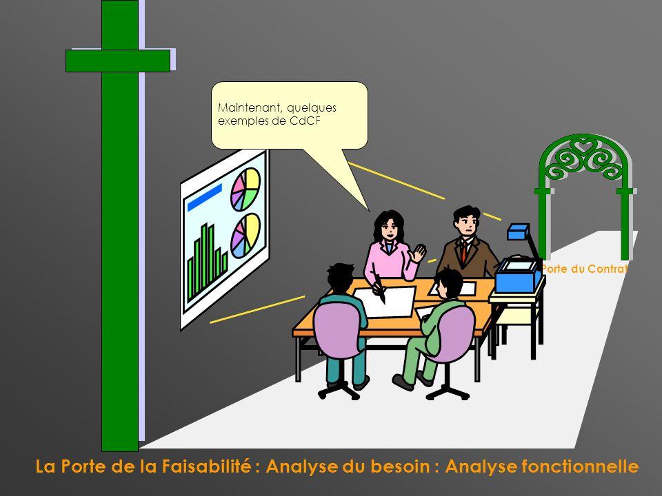 La Porte de la Faisabilité : Analyse du besoin : Analyse fonctionnelle La Porte du Contrat Maintenant, quelques exemples de CdCF
