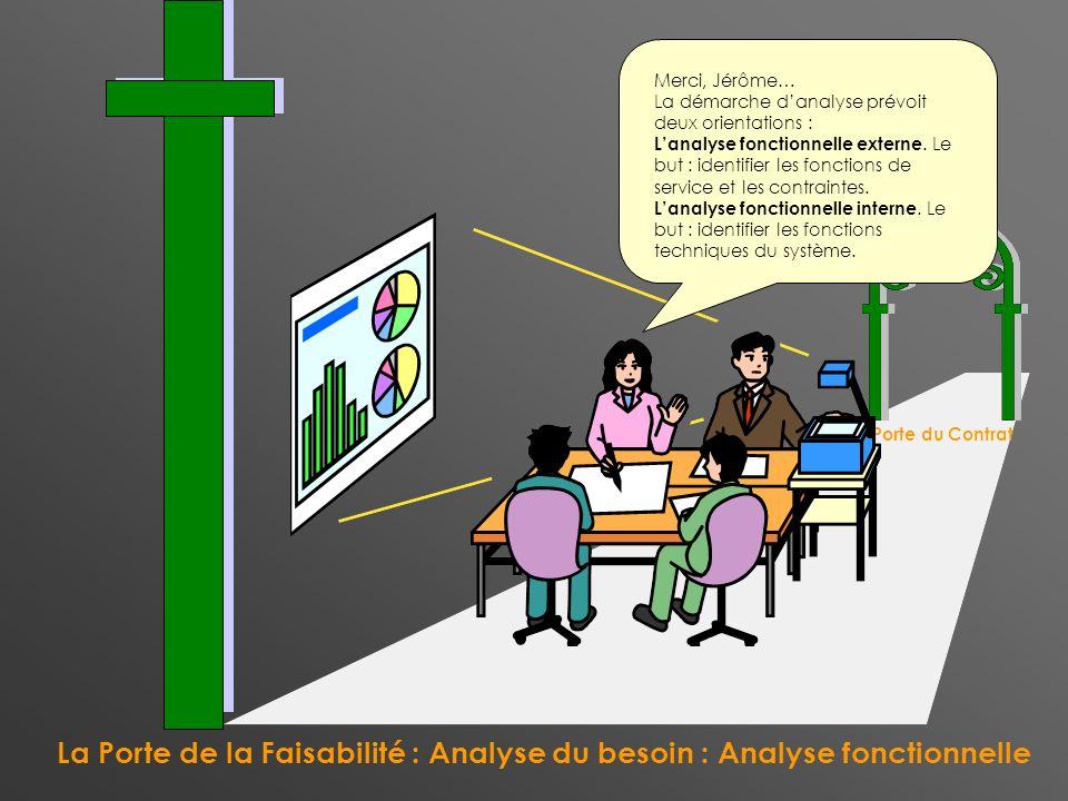 La Porte de la Faisabilité : Analyse du besoin : Analyse fonctionnelle La Porte du Contrat Merci, Jérôme… La démarche danalyse prévoit deux orientatio