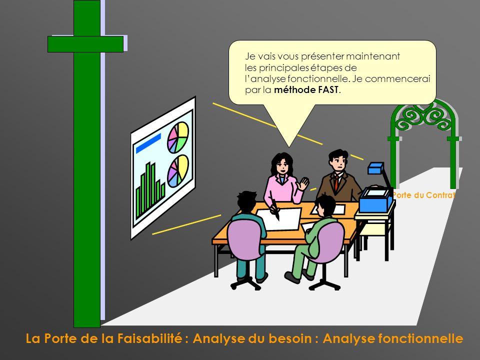 La Porte de la Faisabilité : Analyse du besoin : Analyse fonctionnelle La Porte du Contrat Je vais vous présenter maintenant les principales étapes de