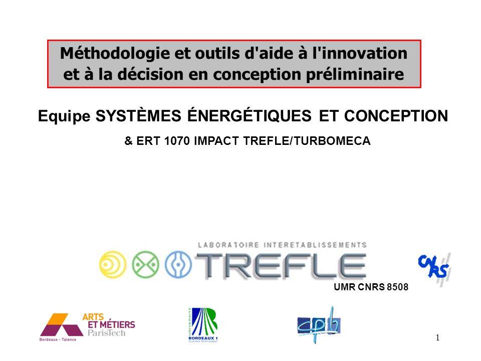 1 Méthodologie et outils d'aide à l'innovation et à la décision en conception préliminaire Equipe SYSTÈMES ÉNERGÉTIQUES ET CONCEPTION UMR CNRS 8508 &