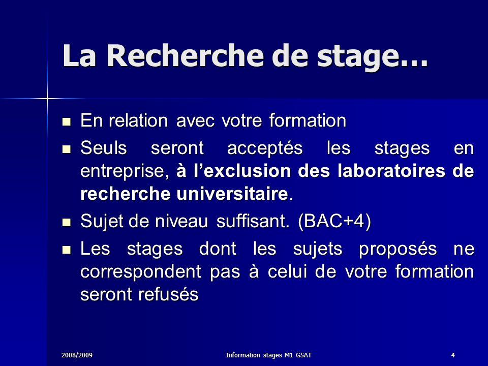 2008/2009Information stages M1 GSAT4 La Recherche de stage… En relation avec votre formation En relation avec votre formation Seuls seront acceptés le