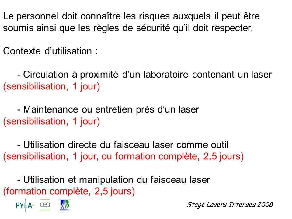 Stage Lasers Intenses 2008 Les accidents laser : mise en cause du faisceau ou non .