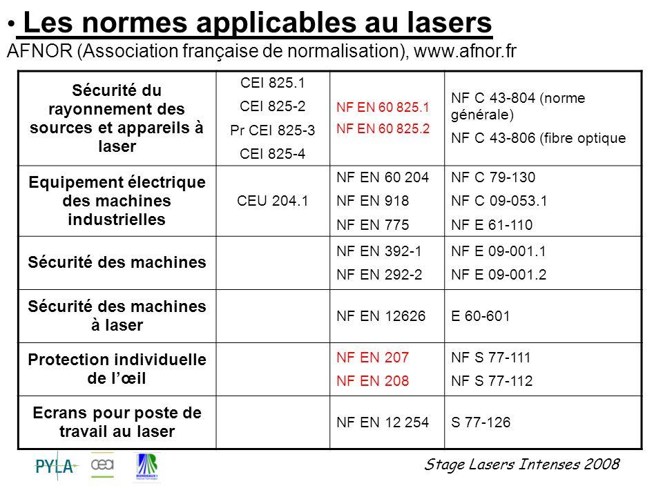 Stage Lasers Intenses 2008 Classe 1 Lasers qui sont sans danger dans toutes les conditions dutilisation raisonnablement prévisibles (180nm λ 106nm, Tbase = 100s ou 30000s).