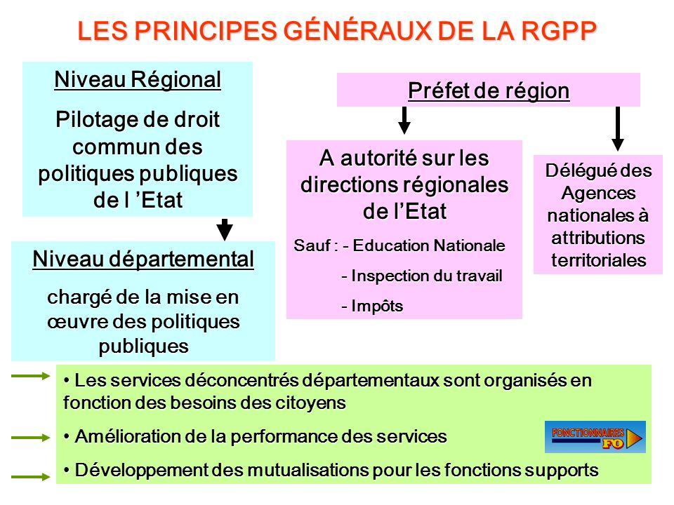 14 LES PRINCIPES GÉNÉRAUX DE LA RGPP Niveau Régional Pilotage de droit commun des politiques publiques de l Etat Niveau départemental chargé de la mis