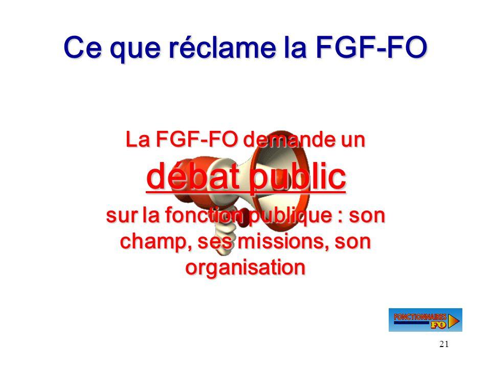 21 Ce que réclame la FGF-FO La FGF-FO demande un débat public sur la fonction publique : son champ, ses missions, son organisation