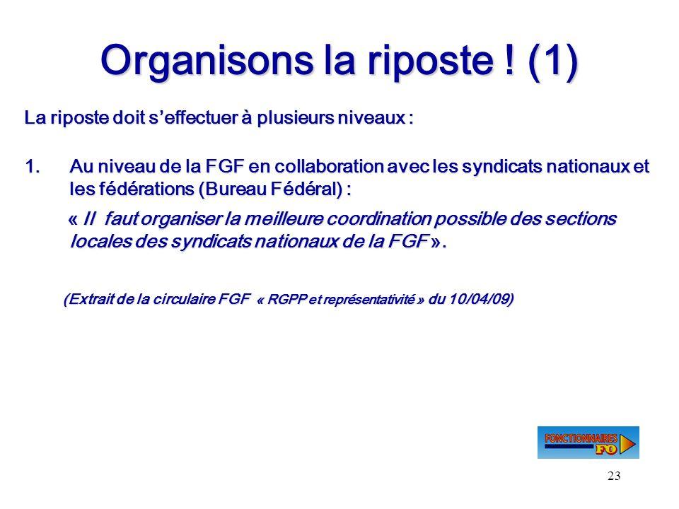 23 Organisons la riposte ! (1) La riposte doit seffectuer à plusieurs niveaux : 1.Au niveau de la FGF en collaboration avec les syndicats nationaux et
