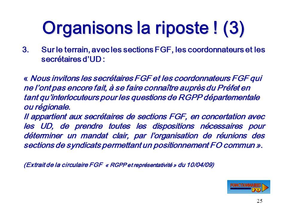 25 Organisons la riposte ! (3) 3.Sur le terrain, avec les sections FGF, les coordonnateurs et les secrétaires dUD : « Nous invitons les secrétaires FG