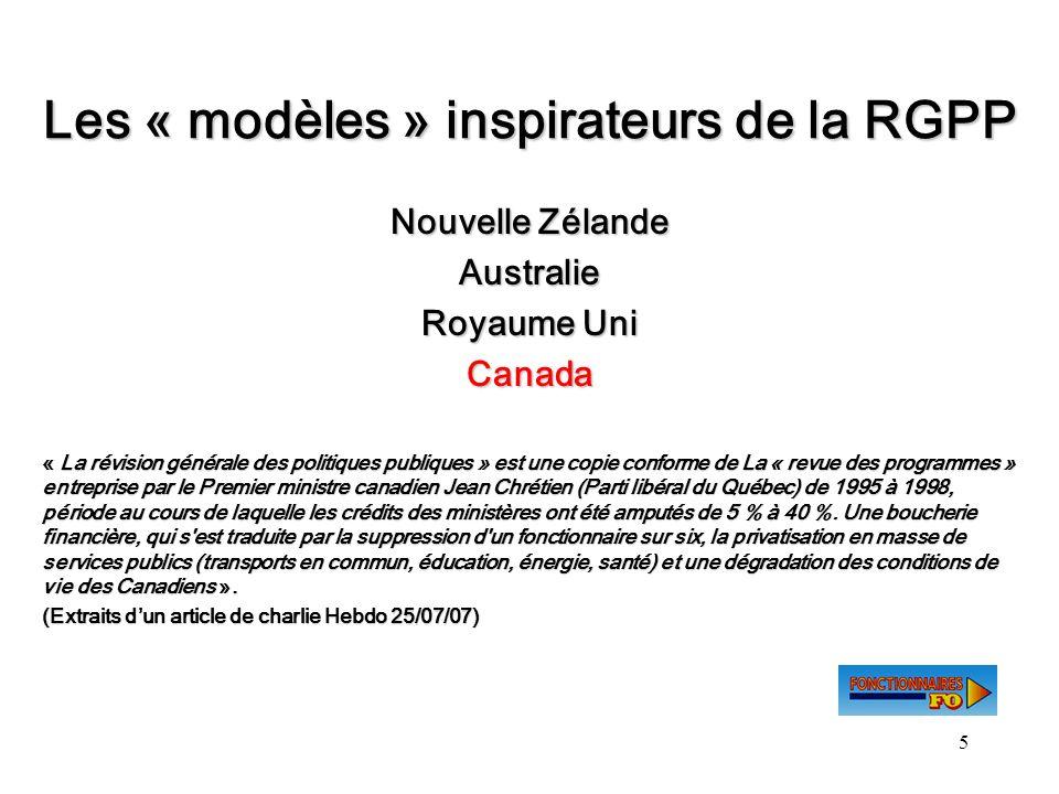 5 Les « modèles » inspirateurs de la RGPP Nouvelle Zélande Australie Royaume Uni Canada « La révision générale des politiques publiques » est une copi