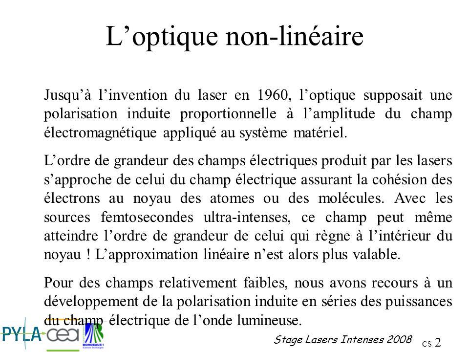 CS 13 Stage Lasers Intenses 2008 Diélectriques Origine de la non linéarité optique Le calcul montre que lorigine de la non- linéarité optique dans les diélectriques réside dans lanharmonicité de la vibration représentant le mouvement de lélectron autour du noyau