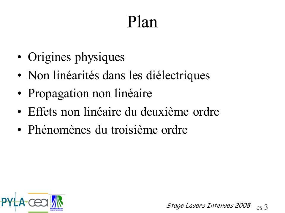 CS 4 Stage Lasers Intenses 2008 Origines physiques Origines Physiques