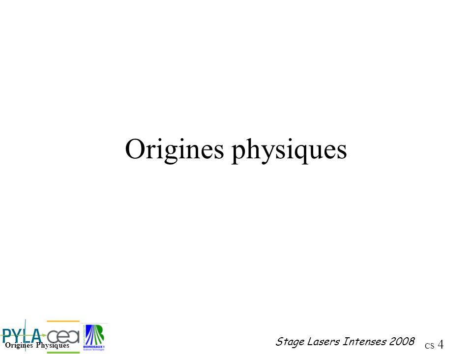 CS 55 Stage Lasers Intenses 2008 Diffusion Brillouin Ondes acoustique de densité, damplitude P et de fréquence P se propageant à la vitesse v du son dans le matériau Éclairée par une onde électromagnétique E L, une polarisation P est induite dans le milieu La polarisation rayonne aux fréquences Stokes - et anti-Stokes +.