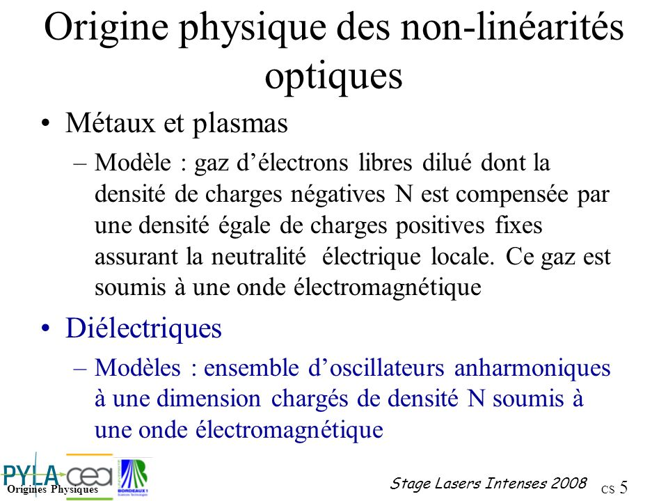 CS 36 Stage Lasers Intenses 2008 Propagation : domaine de l optique linéaire Diffraction de Fresnel Sur les laser à verre néodyme la puissance critique est de lordre du mégawatt !!