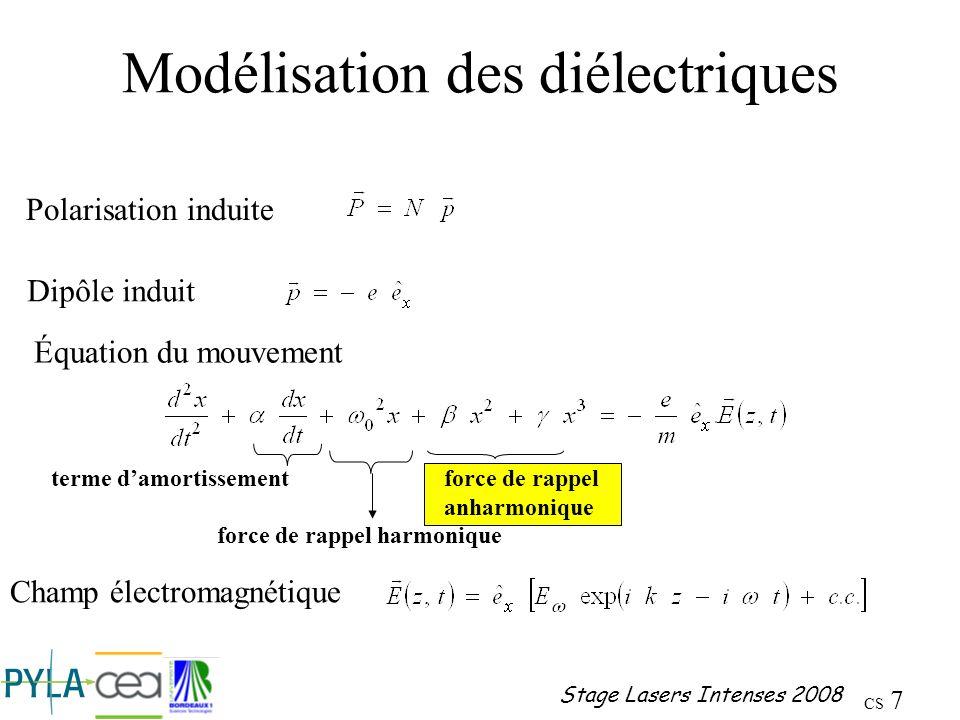 CS 8 Stage Lasers Intenses 2008 Diélectriques : résolution Polarisation du premier ordre Dipôle induit Polarisabilité linéaire Polarisation linéaire Susceptibilité linéaire Les parties réelle et imaginaire de la susceptibilité sont reliées respectivement à la propagation et à labsorption de londe électromagnétique dans le milieu