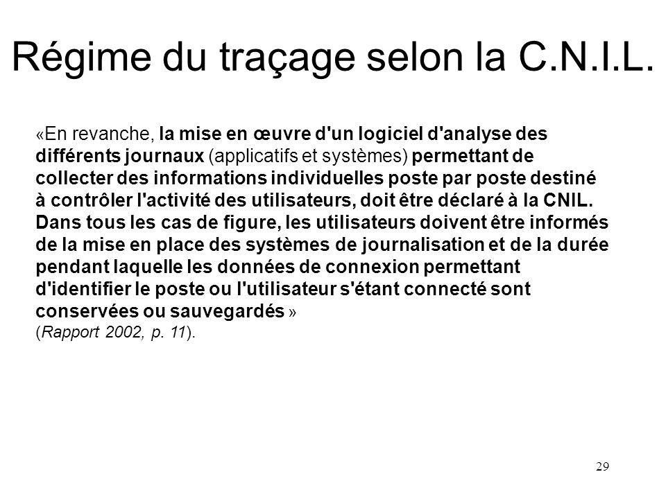 28 Régime du traçage selon la C.N.I.L. « Les fichiers de journalisation des connexions destinés à identifier et enregistrer toutes les connexions ou t