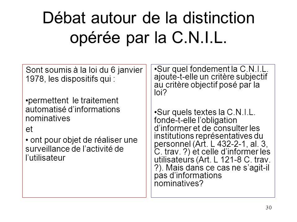 29 Régime du traçage selon la C.N.I.L. « En revanche, la mise en œuvre d'un logiciel d'analyse des différents journaux (applicatifs et systèmes) perme