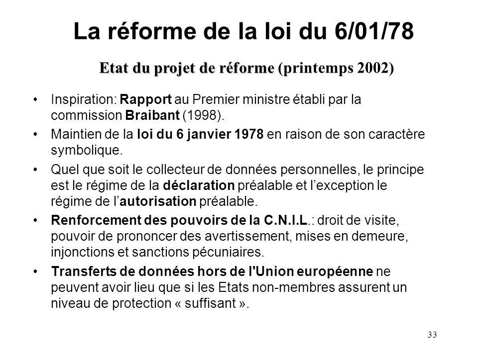 32 La réforme de la loi du 6/01/78 Les raisons de la réforme En raison de lévolution technologique, des millions de fichiers dentreprise échappent au