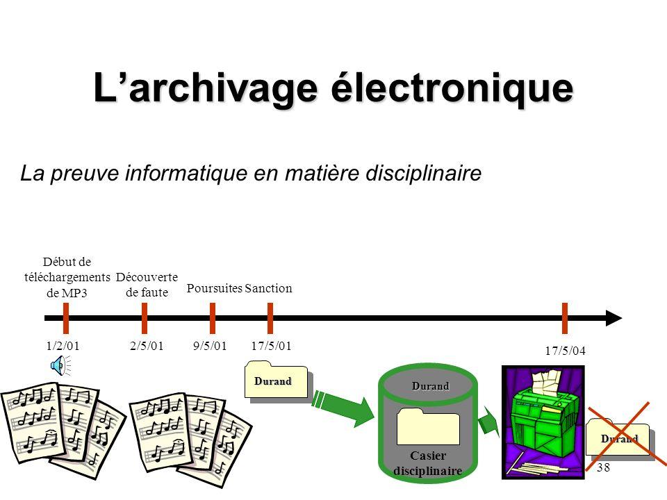 37 Larchivage électronique I.- Conserver les documents en fonction des délais planchers et du principe de finalité COMPTABILITE PERSONNEL PAIE Par ex.