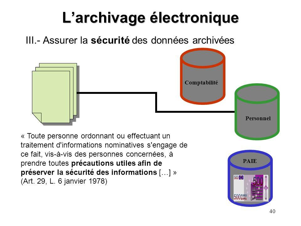 39 Larchivage électronique II.- Assurer la traçabilité des données archivées Comptabilité Personnel PAIE En cas de contestation, lemployeur doit pouvo