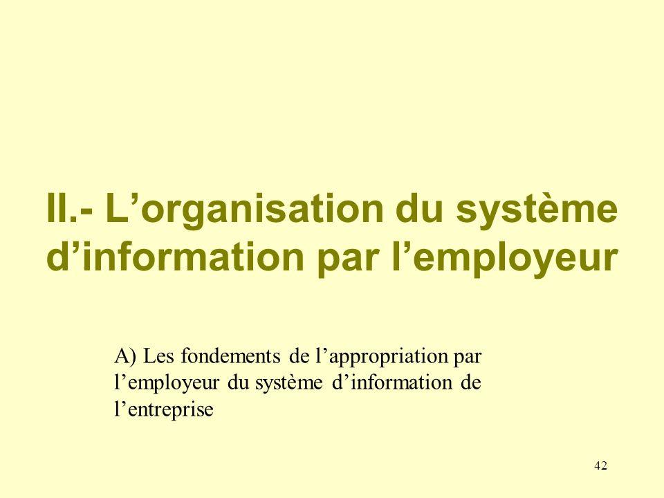 41 II.- Lorganisation du système dinformation par lemployeur