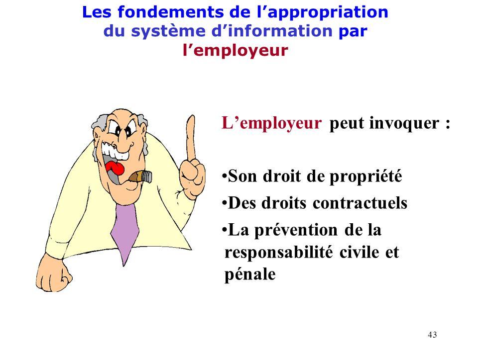 42 II.- Lorganisation du système dinformation par lemployeur A) Les fondements de lappropriation par lemployeur du système dinformation de lentreprise