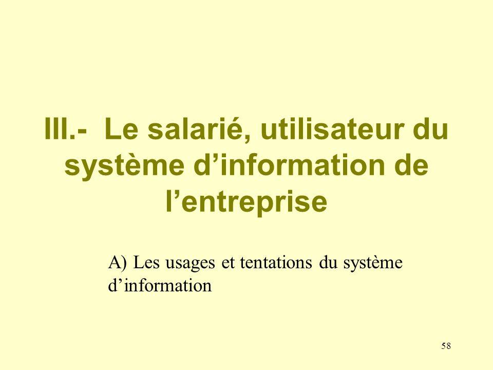 57 III.- Le salarié, utilisateur du système dinformation de lentreprise