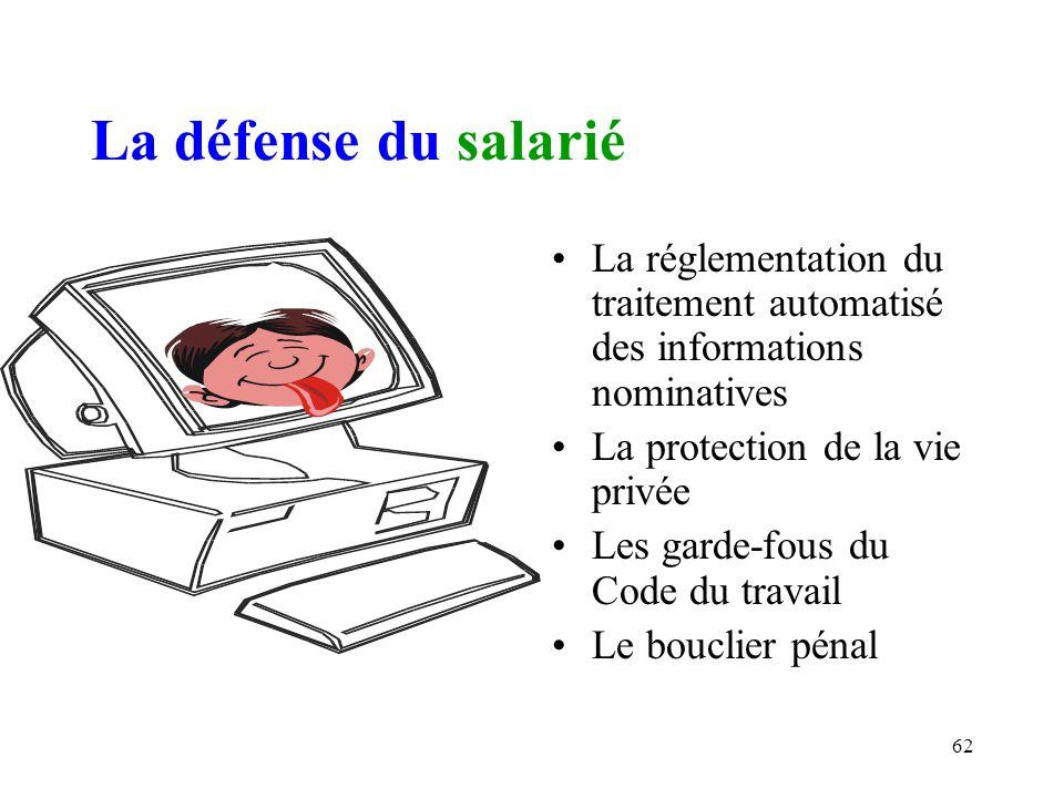 61 III.- Le salarié, utilisateur du système dinformation de lentreprise 1) La protection par la loi du 6 janvier 1978 B) La protection des salarié