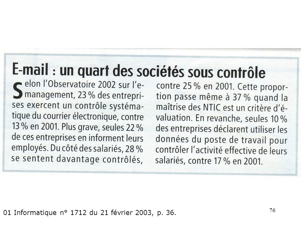 75 Hubert dErceville, Le-mail durcit les relations sociales dans lentreprise: 01 Informatique n° 1692 du 20 septembre 2002, p. 31
