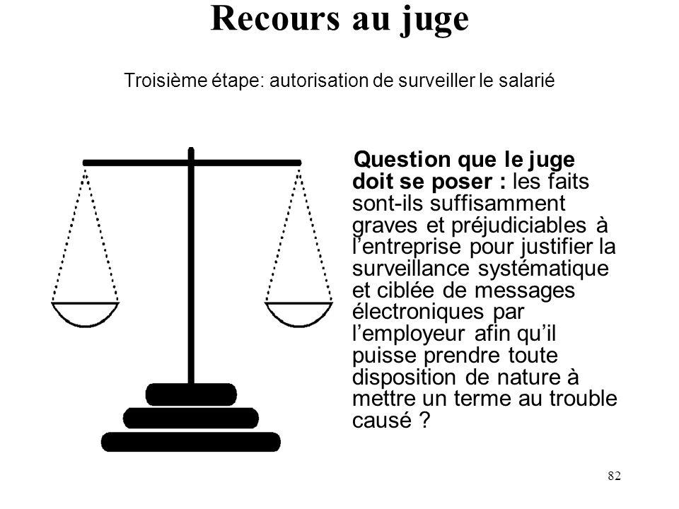 81 Recours au juge Seconde étape : solliciter une ordonnance sur requête (Art. 493 et 495 C. proc. civ.). Le recours au juge de la part de lemployeur