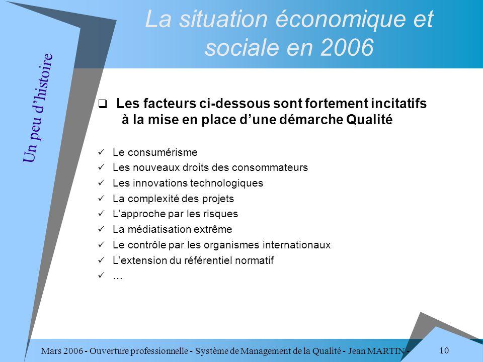 Mars 2006 - Ouverture professionnelle - Système de Management de la Qualité - Jean MARTIN - QUALITE 10 Un peu dhistoire La situation économique et soc