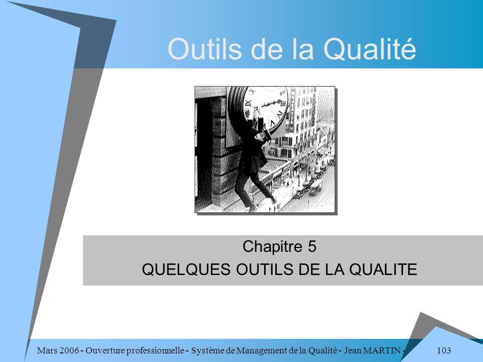 103 Mars 2006 - Ouverture professionnelle - Système de Management de la Qualité - Jean MARTIN - QUALITE Outils de la Qualité Chapitre 5 QUELQUES OUTIL