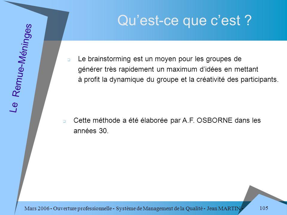 Mars 2006 - Ouverture professionnelle - Système de Management de la Qualité - Jean MARTIN - QUALITE 105 Quest-ce que cest ? Le Remue-Méninges Le brain